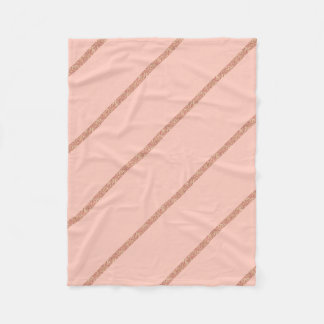 rose gold glitter pastel peach stripes pattern fleece blanket