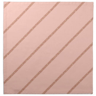 rose gold glitter pastel peach stripes pattern napkin