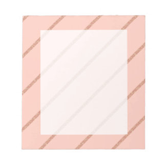 rose gold glitter pastel peach stripes pattern notepad