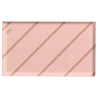 rose gold glitter pastel peach stripes pattern place card holder