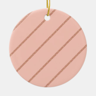rose gold glitter pastel peach stripes pattern round ceramic decoration