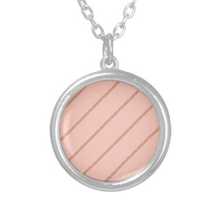 rose gold glitter pastel peach stripes pattern silver plated necklace