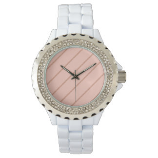 rose gold glitter pastel peach stripes pattern watch
