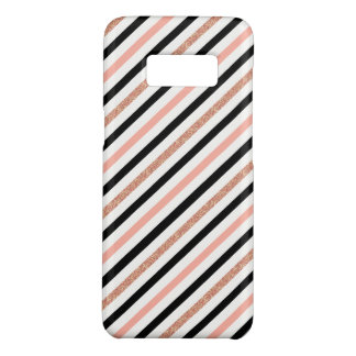 rose gold glitter pastel pink stripes pattern Case-Mate samsung galaxy s8 case