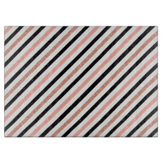 rose gold glitter pastel pink stripes pattern cutting board