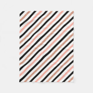 rose gold glitter pastel pink stripes pattern fleece blanket