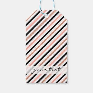 rose gold glitter pastel pink stripes pattern gift tags