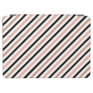 rose gold glitter pastel pink stripes pattern iPad air cover