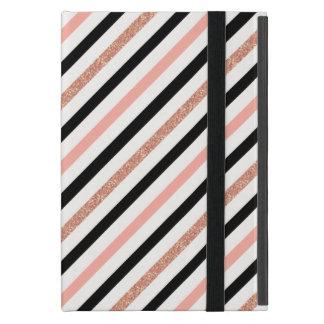 rose gold glitter pastel pink stripes pattern iPad mini cover