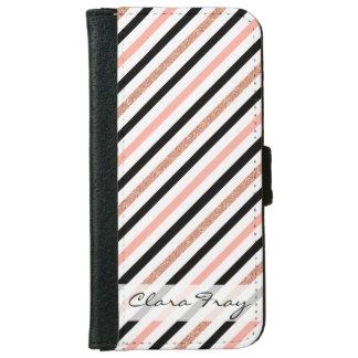 rose gold glitter pastel pink stripes pattern iPhone 6 wallet case
