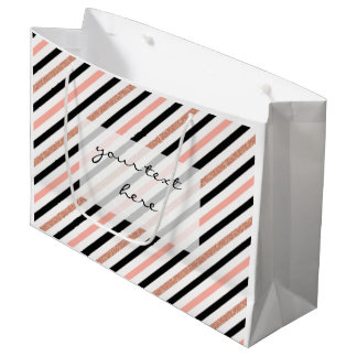 rose gold glitter pastel pink stripes pattern large gift bag