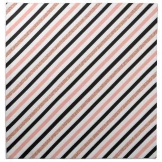 rose gold glitter pastel pink stripes pattern napkin