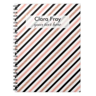 rose gold glitter pastel pink stripes pattern notebook