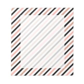 rose gold glitter pastel pink stripes pattern notepad
