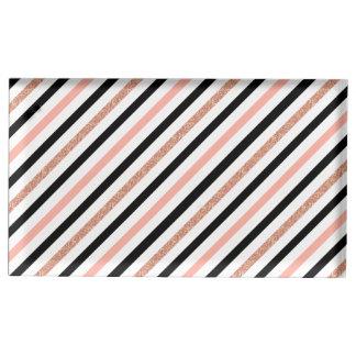 rose gold glitter pastel pink stripes pattern table card holder