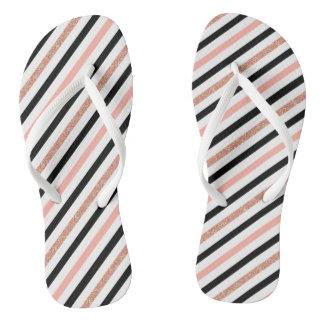 rose gold glitter pastel pink stripes pattern thongs