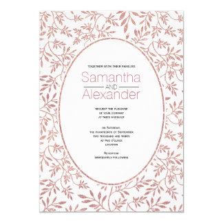 Rose gold glitter pattern of leaves trendy wedding 13 cm x 18 cm invitation card