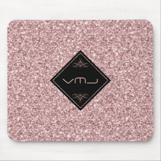 Rose-Gold Glitter Patterns Monogram Mouse Pad