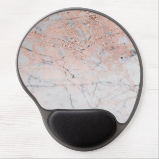 Rose Gold Glitter Pink Grey Marble Chic Trendy Gel Mouse Pad