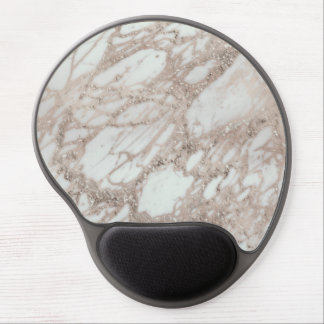 Rose Gold Glitter Pink Marble Swirl Chic Trendy Gel Mouse Pad