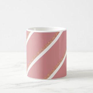 rose gold glitter pink stripes pattern coffee mug