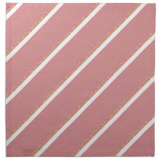 rose gold glitter pink stripes pattern napkin