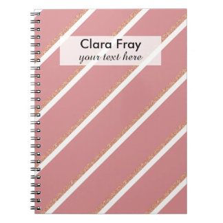 rose gold glitter pink stripes pattern note book