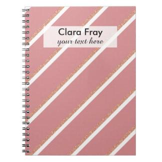 rose gold glitter pink stripes pattern notebook