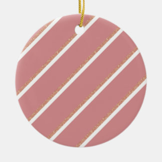 rose gold glitter pink stripes pattern round ceramic decoration