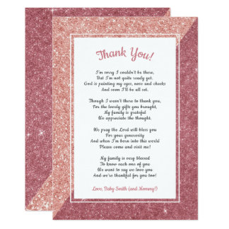 Rose gold glitter poem baby shower thank you note card