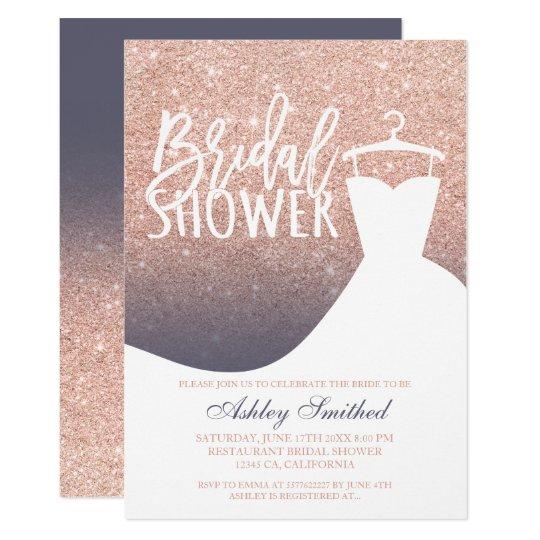 Rose gold glitter purple grey dress Bridal shower Card