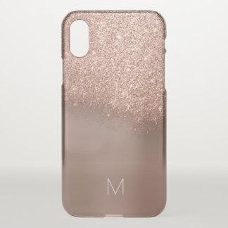 Rose Gold Glitter Skinny  Italian Monogram Bronze iPhone X Case
