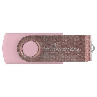 Rose Gold Glitter Sparkle Monogram USB Thumb Drive