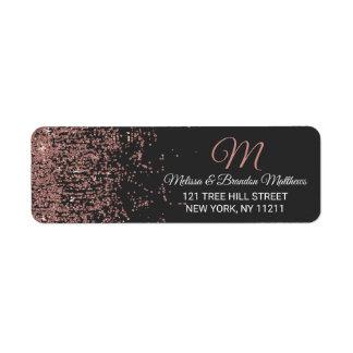Rose Gold Glitter Sparkles Black Address Return Address Label