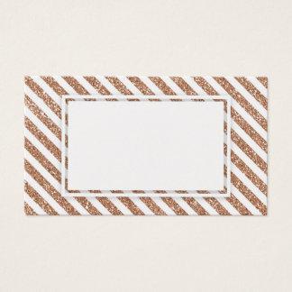 Rose Gold Glitter Stripes Blank Business Card