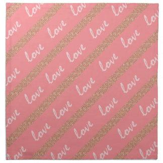 rose gold glitter stripes love typography pattern napkin