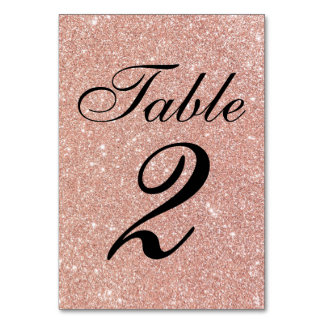 Rose Gold Glitter Sweet 16 Table Number