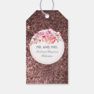 Rose Gold Glitter Vintage Floral Bouquet Gift Tags