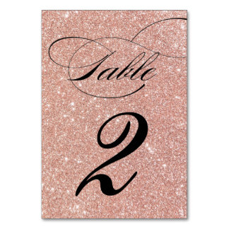 Rose Gold Glitter Wedding Reception Table Number Table Card