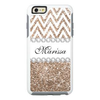 Rose Gold Glitter White Chevron iPhone 6 Case