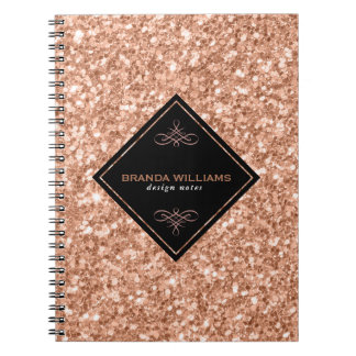 Rose Gold Glitter With Black Accent Notebook