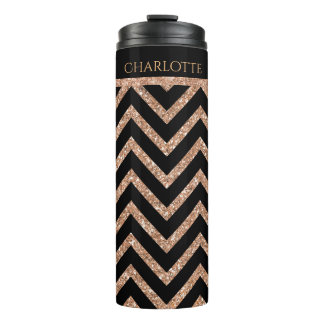 Rose Gold Glittery Chevron Custom Thermal Tumbler