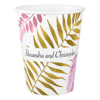 Rose Gold & Gold Foil Tropical Wedding Cups
