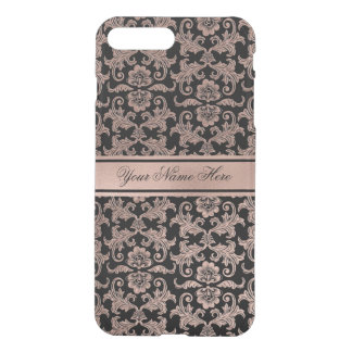Rose Gold Gradient Metal Damask Pattern on Black iPhone 8 Plus/7 Plus Case