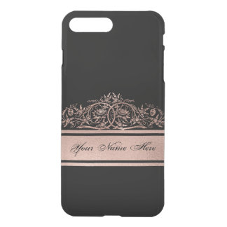 Rose Gold Gradient Metal Floral Frame on Black iPhone 8 Plus/7 Plus Case