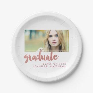 Rose Gold Graduate   Graduation Paper Plate