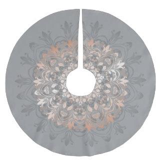 Rose Gold Gray Floral Mandala Brushed Polyester Tree Skirt
