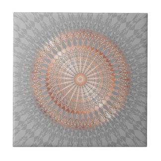 Rose Gold Gray Mandala Ceramic Tile