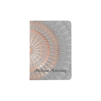 Rose Gold Gray Mandala Monogram Passport Holder