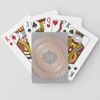 Rose Gold Gray Mandala Monogram Playing Cards